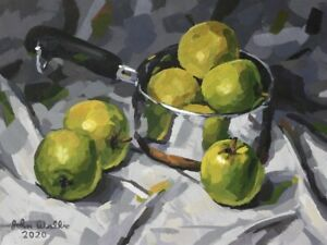 Original-Painting-034-Metal-Pot-with-Green-Apples-034-9-x-12-inch-by-John-Wallie