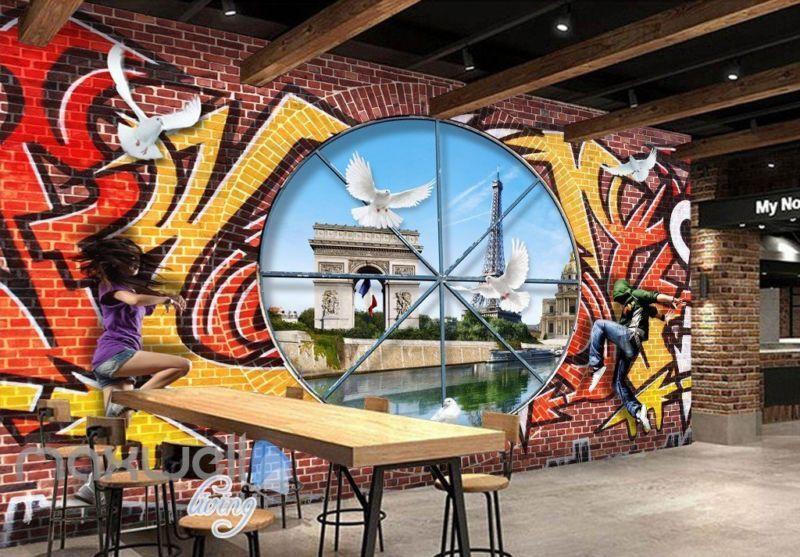 3D Graffiti Window Bird Paris Wall Murals Wallpaper Wall Art Decals Decor