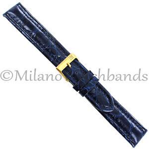 18mm-Milano-Navy-Heavily-Padded-Stitched-Genuine-Crocodile-Mens-Band-Regular-992