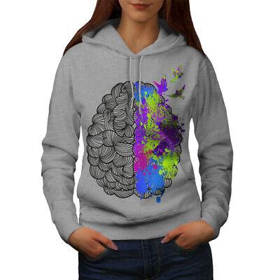 Wellcoda Colorato Cervello Arte Da Donna Felpa Con Cappuccio, Anatomia Casual Con Cappuccio Felpa-mostra Il Titolo Originale
