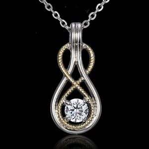 Women-White-Gold-Plated-Crystal-8-Shape-Pendant-Necklace-Wedding-Jewelry-Gift