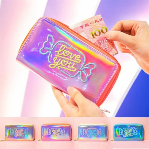 Women Hologram Wallet Metallic Girls Card Holder Laser Coin Purse Bags Stylish