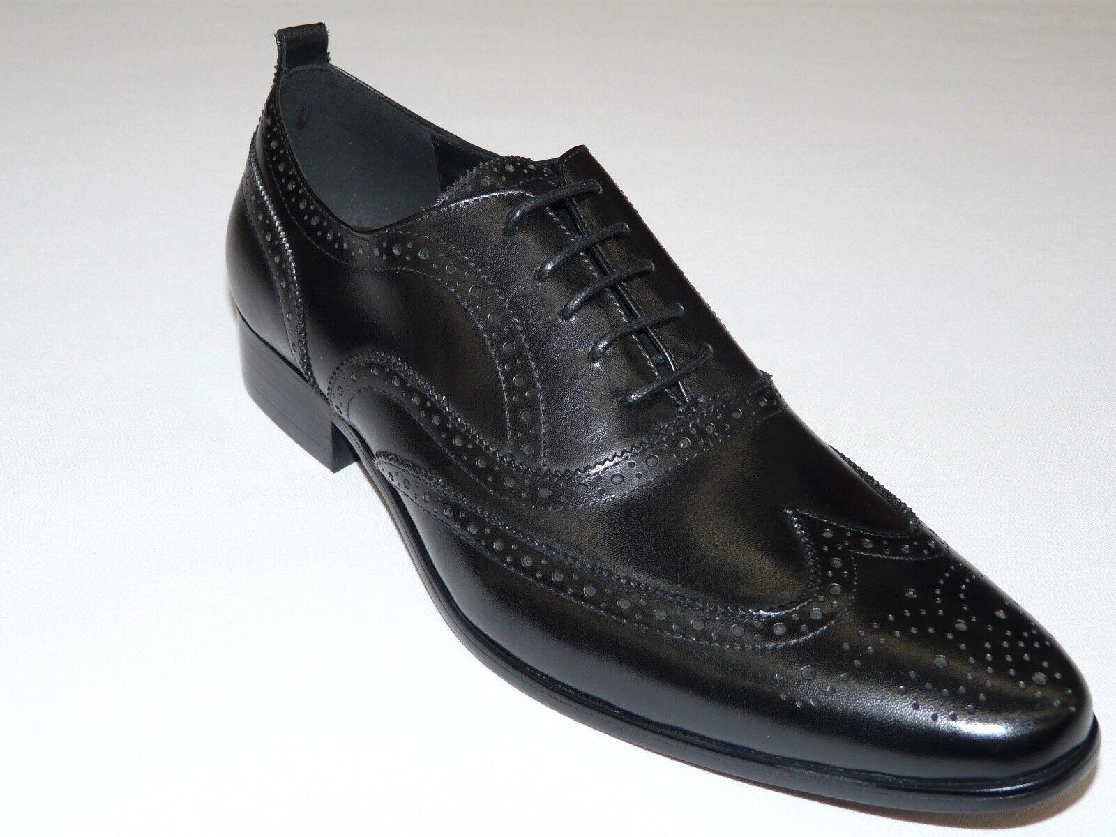 Men''s Wing Tip shoes Jvalintin  Leonardi Style Soft Leather 8027 Black