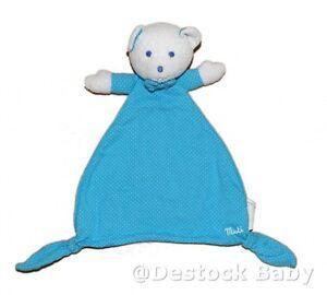 Doudou plat ours Musti bleu à pois Mustela Semi plat Ours Plat