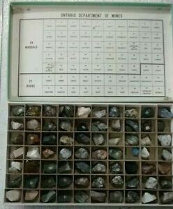 Vintage-Ontario-Department-of-Mines-70-Mineral-amp-Rock-Specimens-Cabinet