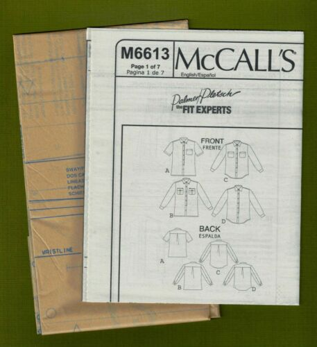 Men or Women/'s Classic Shirts Sewing Pattern McCalls 6613 NEW Sizes S, M, L