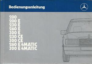 MERCEDES-E-KLASSE-C124-Coupe-Betriebsanleitung-1988-Bedienungsanleitung-BA