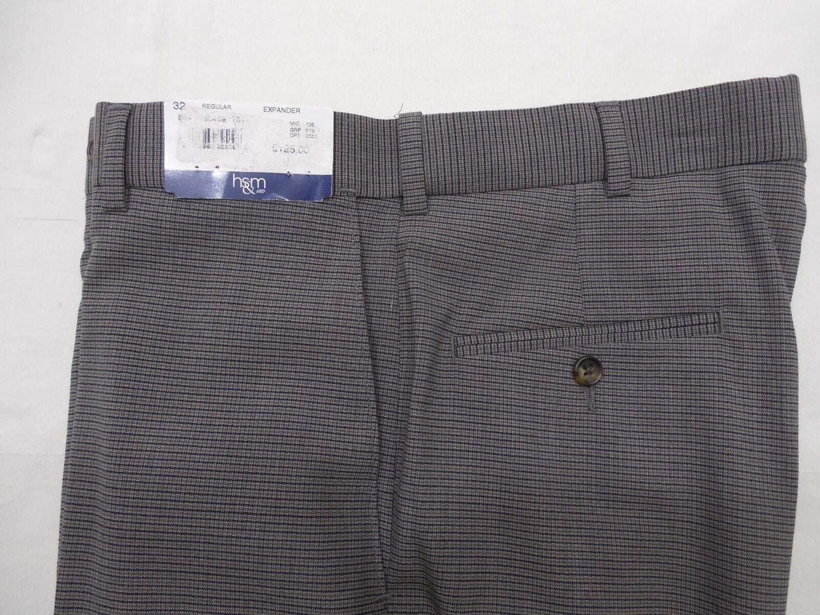 HSM Hart Schaffner Marx Men's Wool Pants Flat 32 Grey Plaid Expander Waist