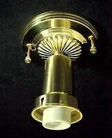 Bead Chain Ceiling Light Fixture Brass Art Deco For 3 Hole 1930s Glass Shade