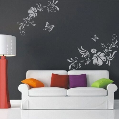 Large Butterfly & Vine Flowers Wall Art Stickers, Wall Decal Stickers - PD35
