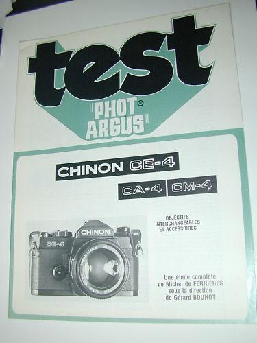 TEST PHOT ARGUS  CHINON CE-4 CA 4  CM-4 en francais photographie photo