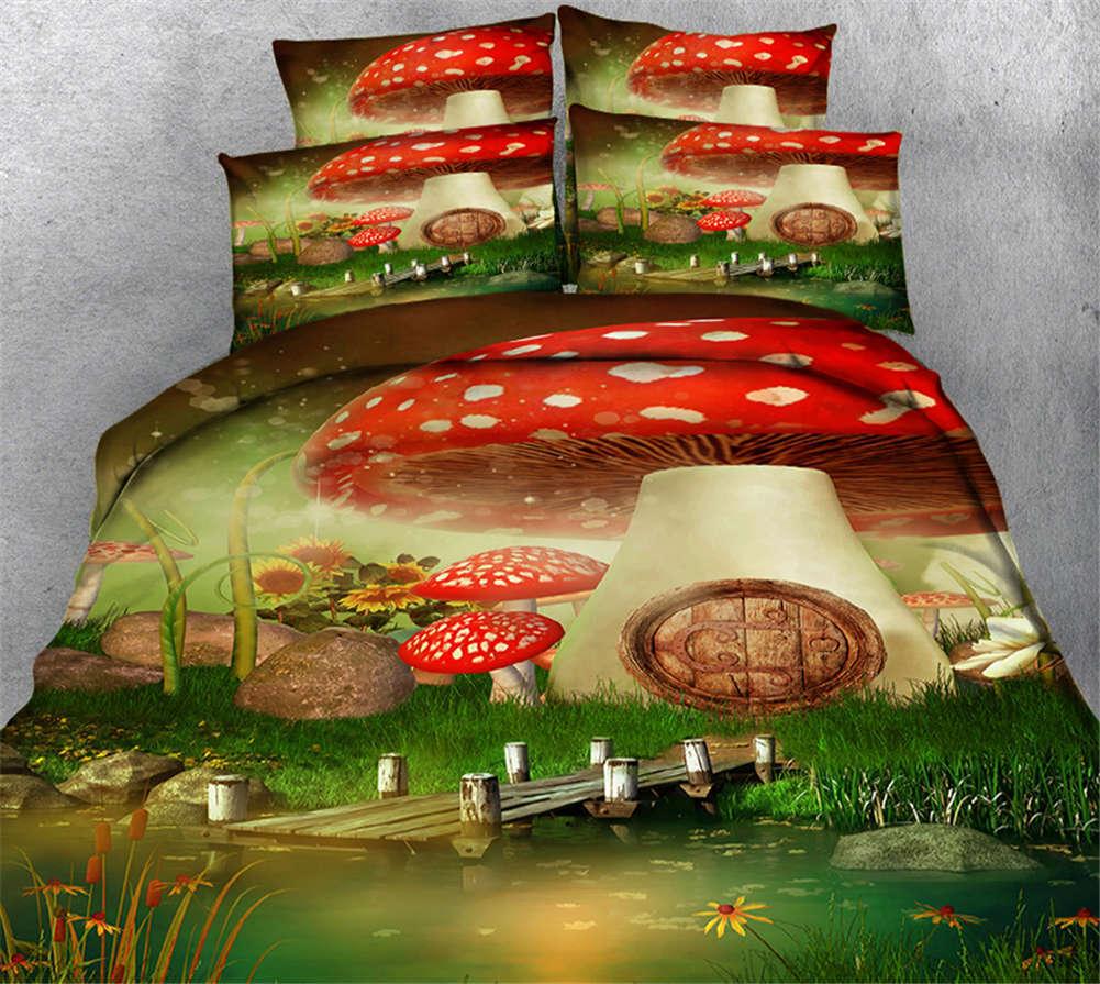 Mushroom Town 3D Printing Duvet Quilt Doona Covers Pillow Case Bedding Sets