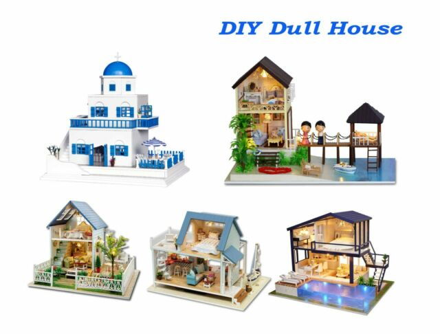 DIY LED Glass Wood Model Kits Dollhouse Beach Hut House Toy Doll Gift Handcraft