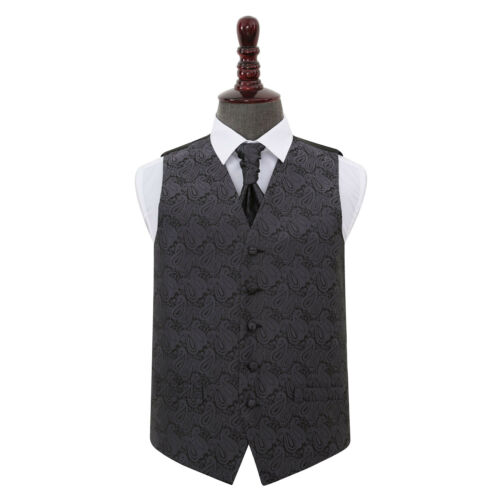 DQT Floral Paisley Charcoal Grey Mens Wedding Waistcoat /& Cravat Set