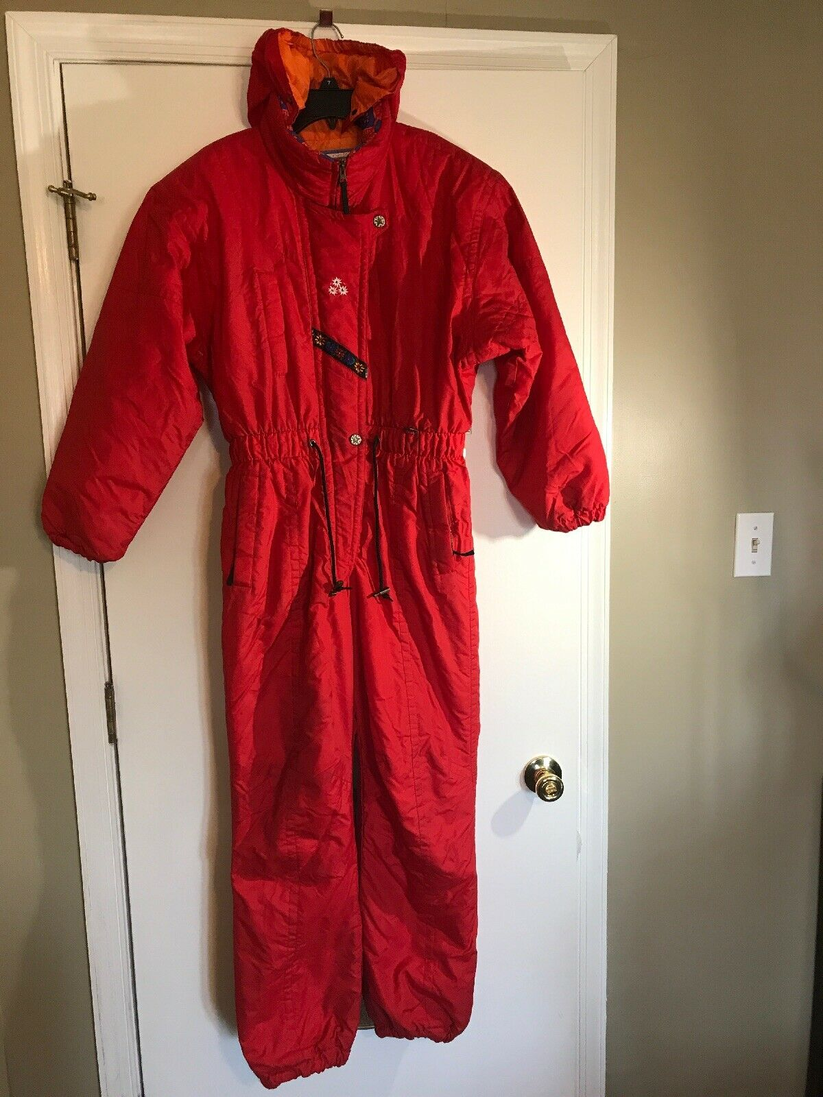 VTG Obermeyer Ski Suit Junior Sz 16 Snow Suit  Dynamic  Hooded Red One-Piece