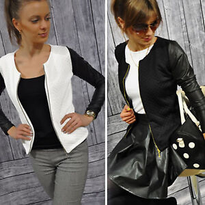 DONNA-SIMILPELLE-MOTOCICLISTA-giacca-zip-slim-corto-giacca-maglia-giacca