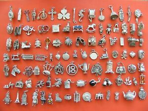A4-VINTAGE-STERLING-SILVER-CHARMS-CAR-BELL-BIBLE-TEDDY-WAGON-BOOT-BIKE-SHELL-CAT