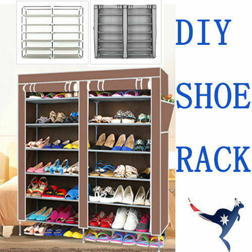 2 Doors Cover Shoe Rack 7 Tier Shoes Cabinet Storage Organizer  COFFEE//SILVER