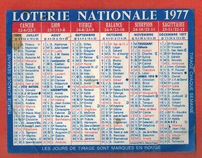 Calendrier 1977 Avec Les Jours.1977 Mini Calendrier Publicitaire Loterie Nationale Loto Ebay
