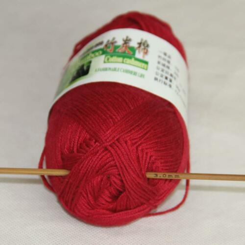 C New 1Ball X 50g Soft Smooth Baby Bamboo Cotton Knitting Yarn DIY Knitwear 29