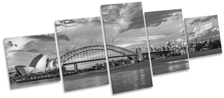 Sydney Harbour horizonte de la la de Ciudad Blanco y Negro LONA pared arte Foto impresión de panel de cinco 858355