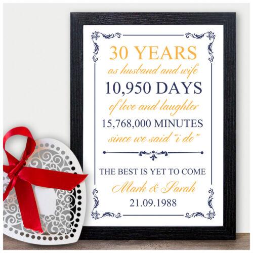 30th Wedding Personalised Anniversary Gift 30 Wedding Anniversary Presents Pearl