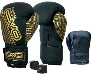 EVO-Maya-Pelle-Guantoni-Da-Boxe-Sparring-Formazione-Gel-MMA-Punch-Bag-Lotta-UFC