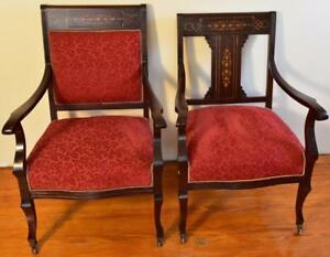 1910s-Pair-of-Antique-English-Edwardian-Mahogany-Inlaid-armchairs-New-Upholstery
