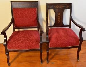 1910s Pair Of Antique English Edwardian Mahogany Inlaid Armchairs