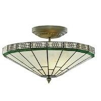 Searchlight York Uplighter Ceiling Light Hand Made Stained Glass 4417-17
