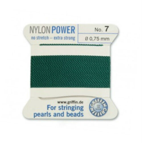 GREEN NYLON POWER SILKY STRING THREAD 0.75mm STRINGING PEARLS /& BEADS GRIFFIN 7