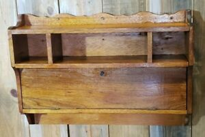 Vintage-Wood-Wall-Desk-Shelf-Sewing-Telephone-Curios-Organizer