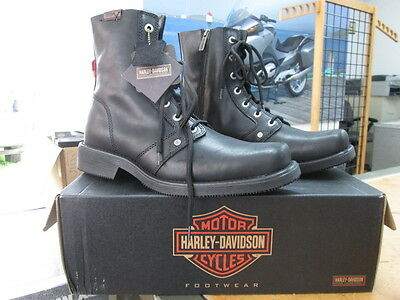 NEW Harley Davidson Mens Leather Boots Shoes Medium Black Luka