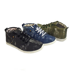 08dd794da014 Boys Lads Kids High Top Trainers Sneakers Lace Up Canvas Ankle Boots ...