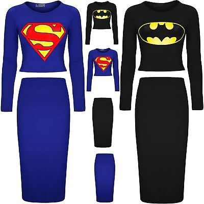 Womens Batman Superman Crop Cropped Top Ladies Knee Length Bodycon Midi Skirt