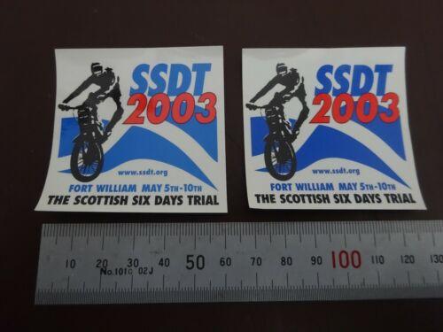 2 x SCOTTISH SIX DAYS TRIAL 2003 SSDT Decal Stickers