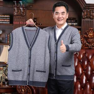 Mens-Woolen-Knitted-Vest-Sweater-Sleeveless-Tank-Top-Waistcoat-Jumper-Cardigan