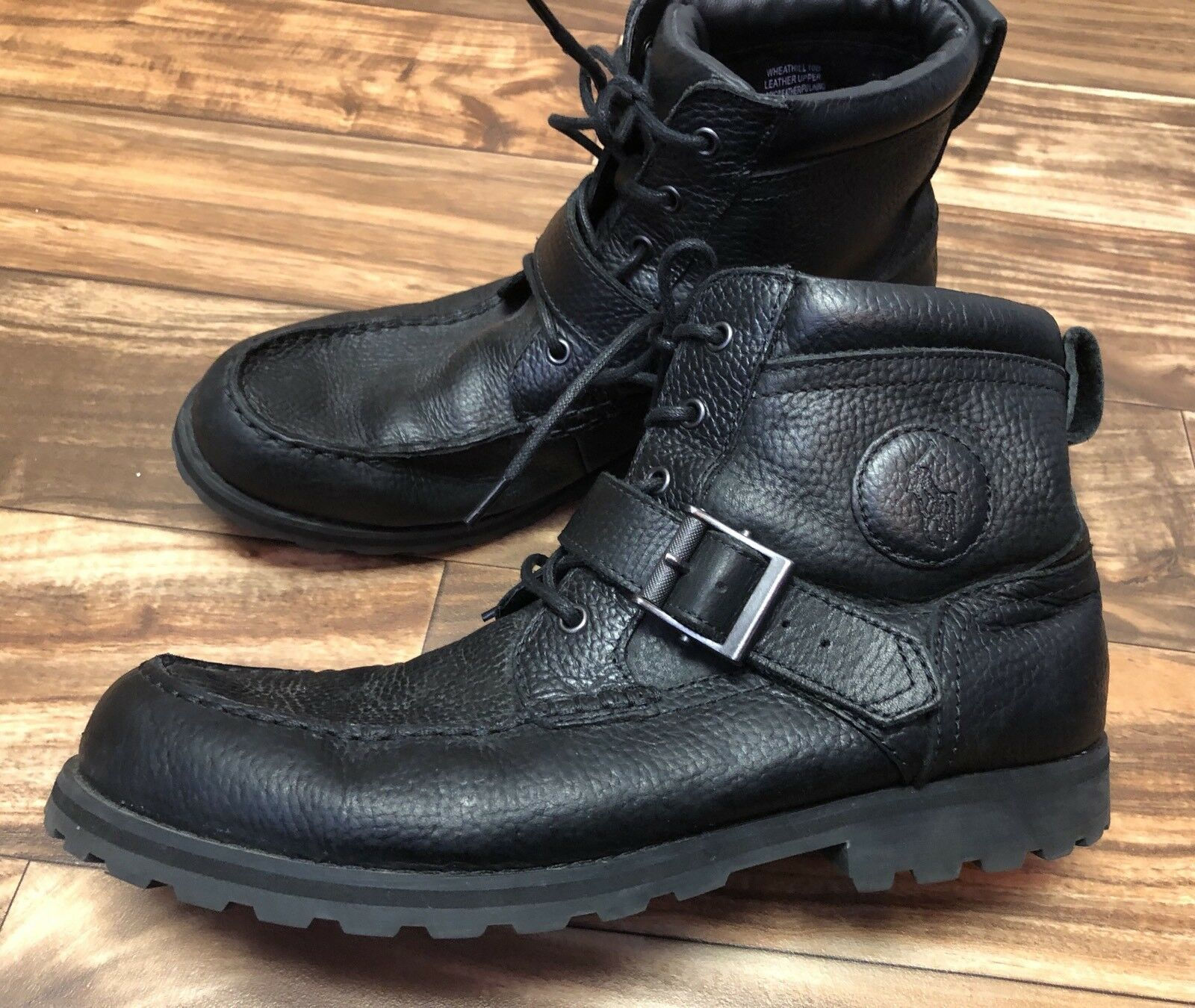 Polo Ralph Lauren Mens 10 Black Pitstop Leather Wheathill Ankle Casual Boots