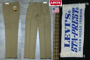 NEU Vintage 1970's Levi's Sta-Prest Slacks Hose USA Herren 32x34