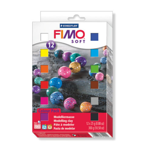 1kg=28,50€ FIMO soft ofenhärtende Modelliermasse 12 x 25g Materialpackung