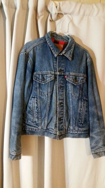 Vintage Wrangler denim jean jacket with wool lining Vtg
