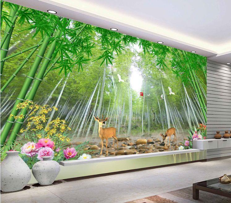 3D Bamboo Forest Deer 2 Paper Wall Print Decal Wall Wall Murals AJ WALLPAPER GB
