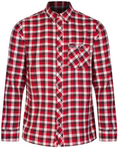 Regatta lazka Casual Check Uomo Camicia A Maniche Lunghe Bianco Rosso 100/% COTONE