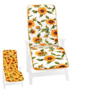 Cushion Sdeckchair Armchair Foldable Soft Cover Sun Bed Home Garden Sunflower