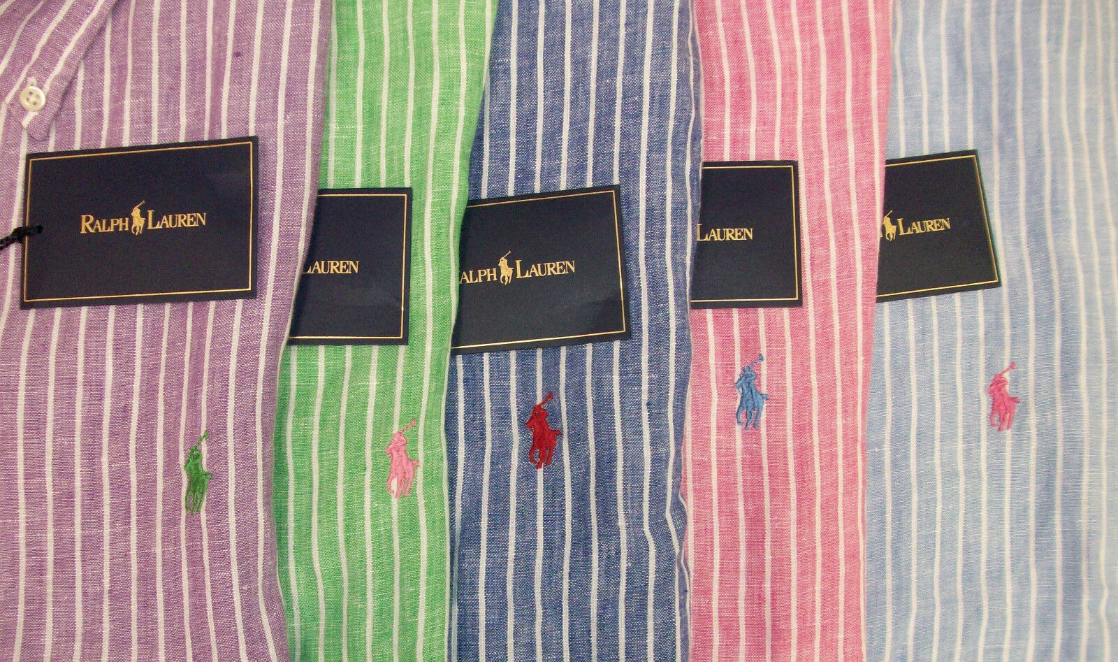 Polo Ralph Lauren Classic Fit Striped SS 100% Linen Sport Shirt W  Pony   NWT