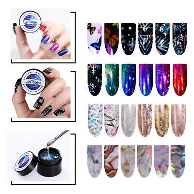 LEMOOC 5ml Stamping Gel Polish Clear Nail Foils Transfer Sticker Design  Tools   eBay