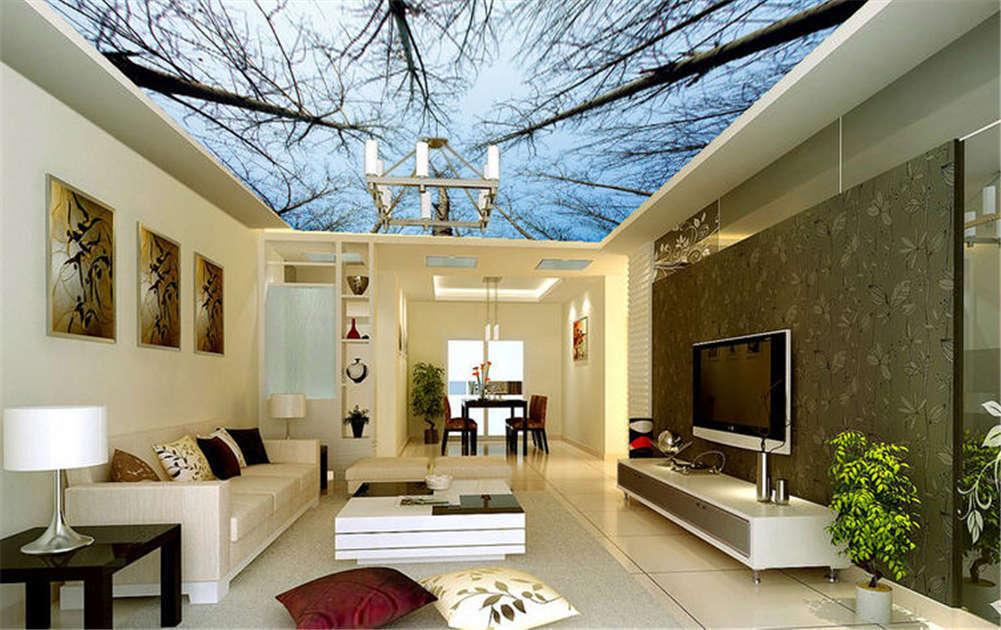 Slim Gross Trunks 3D Ceiling Mural Full Wall Photo Wallpaper Print Home Decor