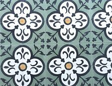 8X8 Flora Encaustic Moroccan Green Cement Tile Floor Walls (Sold by Piece)