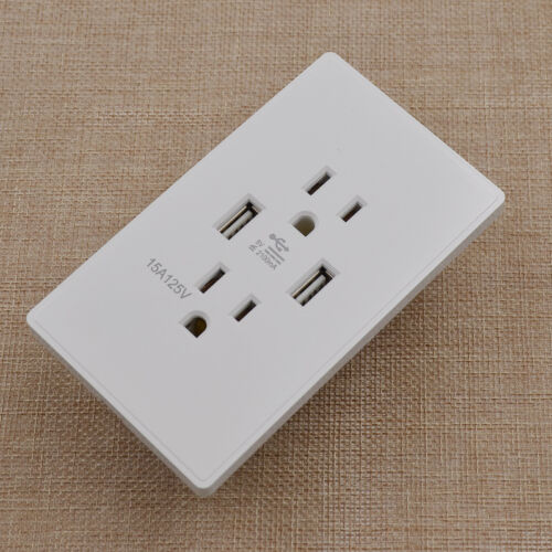 Wall Socket Dual 2 USB Plug Switch Power Charger Electric Socket Outlet Adapter