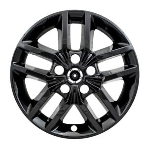 """18"""" Black Wheel Skins Hubcaps FOR 2016 2017 2018 2019 Jeep Grand Cherokee (x4)"""